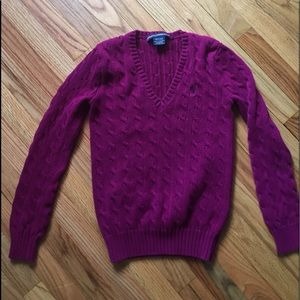 Ralph Lauren Sport v neck cable knit sweater sz M